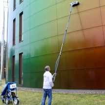 facade cleaning with cleaner system شستشوی نما و شیشه با دستگاه نماشویی