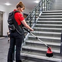 staircase washing with multipurpose scrubber اسکرابر چند منظوره، دستگاه نظافت راه پله