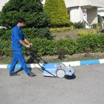 residential commercial cleaning walk behind sweeper نظافت محوطه مسکونی تجاری با سوییپر دستی