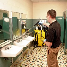 cleaning reatroom with high pressure spray vac شستشو و نظافت سرویس بهداشتی